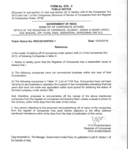 Removal of Company Names from Registrar of Companies STK-5